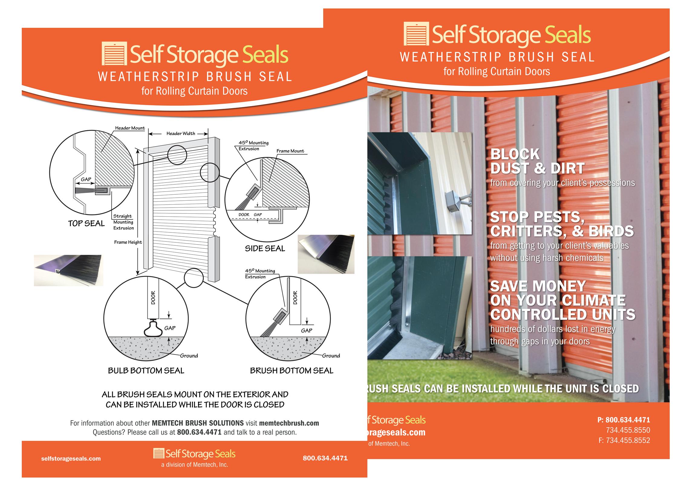 Self storage door seals roll up overhead doors